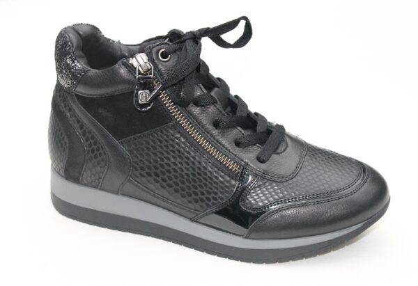 Helioform sneaker half hoog met ritsje zwart leer