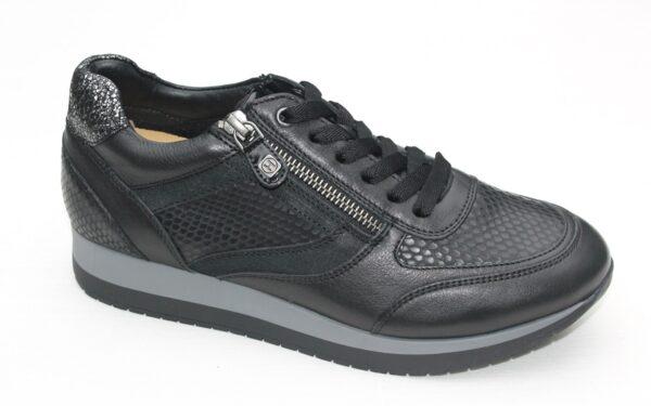 H003 Helioform sneaker met ritsje zwart leer