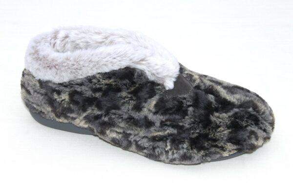 Dichte pantoffel grijs tijgerprint