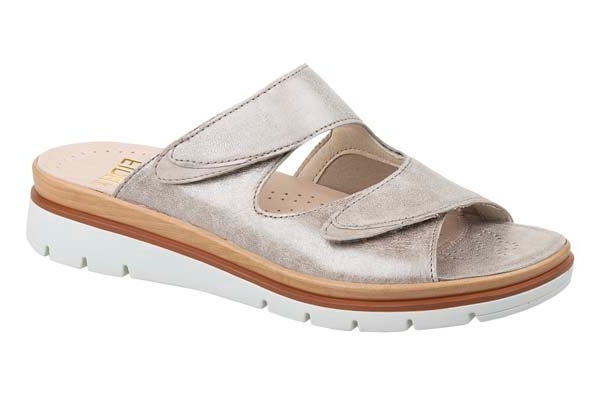 "F002 Fidelio ""Halux"" verstelbare klittenband slipper platin metallic"