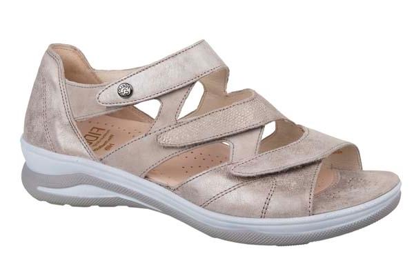 F003 Fidelio dichte hiel sandaal platin metallic combi