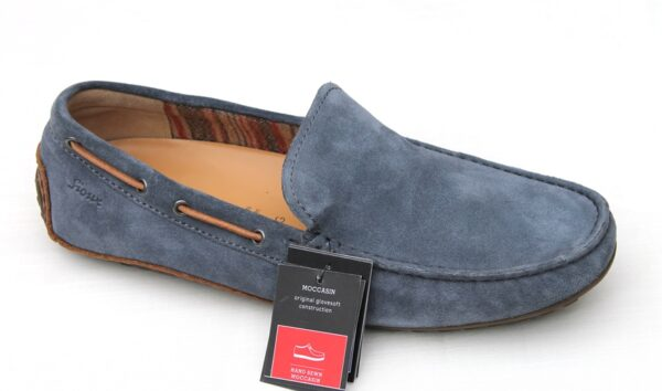 SH003 Sioux sportieve mocassin jeansblauw suède