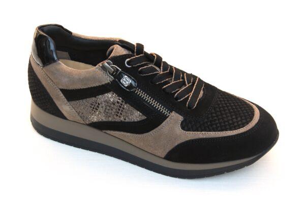 Helioform sneaker zwart taupe suède combinatie