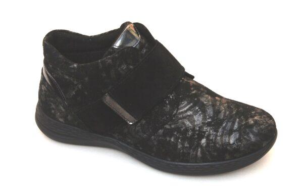 Fidelio half hoge klittenbandschoen zwart fantasieprint